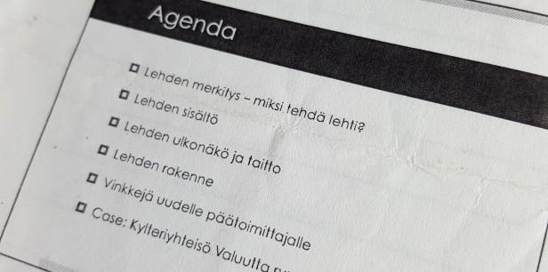 Lehdensuunnittelutyöpajassa.